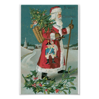 Vintage Santa Claus in the Snow Poster