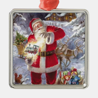 Vintage Santa Claus In The Snow Silver-Colored Square Decoration