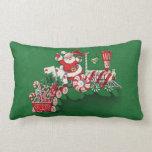 Vintage Santa Claus Peppermint Candy Train Throw Pillow