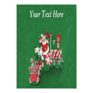 Vintage Santa Claus Peppermint Candy Train Magnetic Invitations
