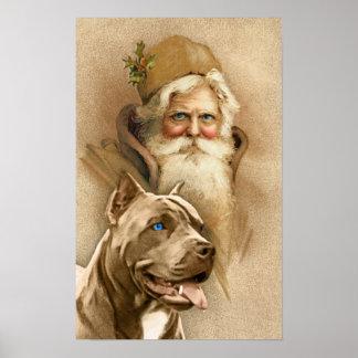 Vintage Santa Claus & Pet Pit Bull Dog Poster