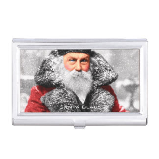 Vintage Santa Claus Photo Business Card Holder