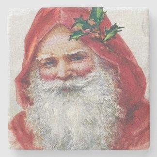 Vintage Santa Claus Portrait Christmas Stone Beverage Coaster