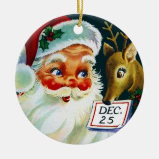 Vintage Santa Claus & Reindeer Christmas Ornament