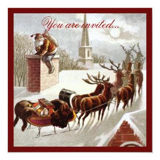 Vintage Santa Claus Reindeer Sleigh invitation