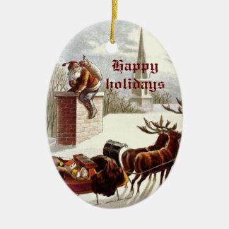 Vintage Santa Claus Reindeer Sleigh ornaments