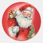 Vintage Santa Claus Round Sticker