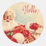 Vintage Santa Claus Round Stickers