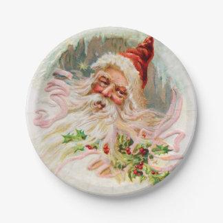 Vintage Santa Claus 7 Inch Paper Plate