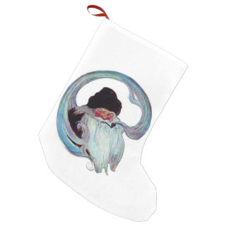 Vintage Santa Claus Smoking a Pipe Small Christmas Stocking