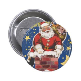 Vintage Santa Claus, Twas Night Before Christmas 6 Cm Round Badge