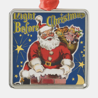 Vintage Santa Claus, Twas Night Before Christmas Silver-Colored Square Decoration