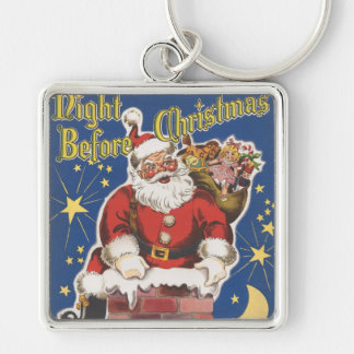 Vintage Santa Claus, Twas Night Before Christmas Silver-Colored Square Key Ring