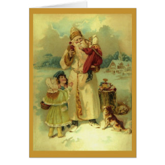 Vintage Santa Claus Victorian Christmas 1890s Greeting Card