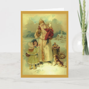 Vintage Santa Claus Victorian Christmas 1890s Holiday Card