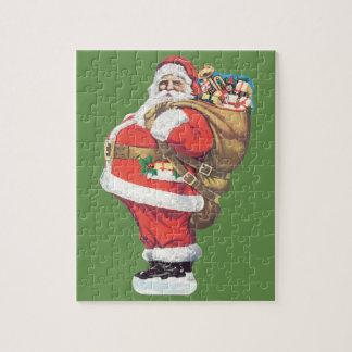 Vintage Santa Claus, Victorian Christmas die cut Jigsaw Puzzle