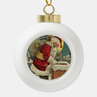 Vintage Santa Claus With Bag Of Toys Ceramic Ball Decoration