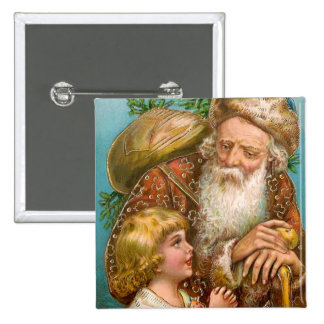 Vintage Santa Claus with Boy Pinback Button