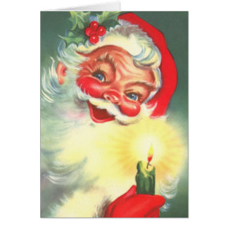 Vintage Santa Claus With Candle Card
