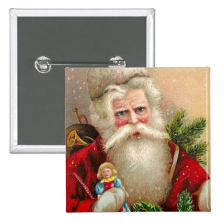 Vintage Santa Claus with Doll Pinback Button