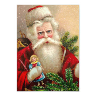 Vintage Santa Claus with Doll 4.5x6.25 Paper Invitation Card