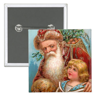 Vintage Santa Claus with Good Boy Pinback Buttons