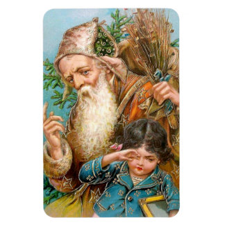 Vintage Santa Claus with Naughty Girl Magnets