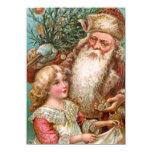 Vintage Santa Claus with Nice Girl 11 Cm X 16 Cm Invitation Card