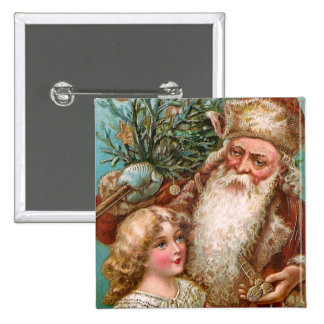 Vintage Santa Claus with Nice Girl Pinback Button