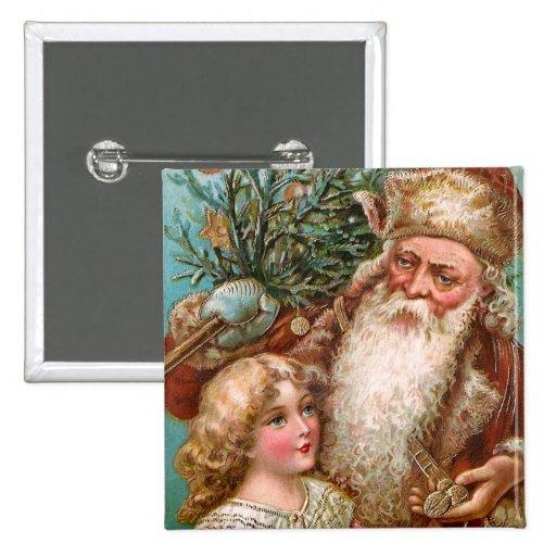 Vintage Santa Claus with Nice Girl Pinback Button