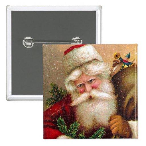Vintage Santa Claus with Sack full of Toys Pinback Button