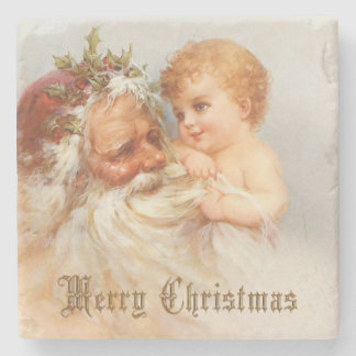 Vintage Santa Claus with Smiling Child Stone Coaster
