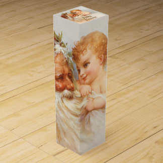 Vintage Santa Claus with Smiling Child Wine Box