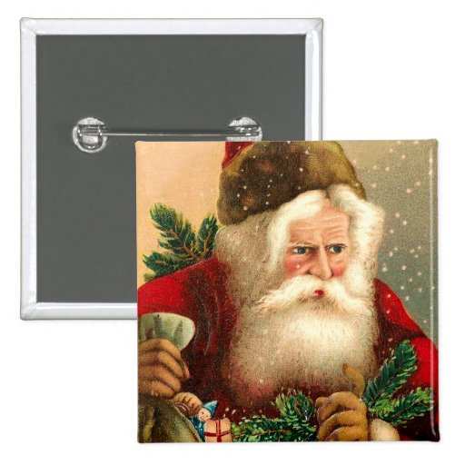 Vintage Santa Claus with Toys 2 Pinback Buttons