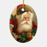 Vintage Santa Claus with Toys 2 Double-Sided Oval Ceramic Christmas Ornament