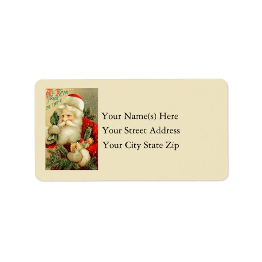 Vintage Santa Claus With Toys Address Label