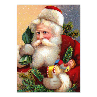 Vintage Santa Claus with Toys and Fir Twigs 11 Cm X 16 Cm Invitation Card
