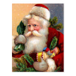 Vintage Santa Claus with Toys and Fir Twigs Postcards
