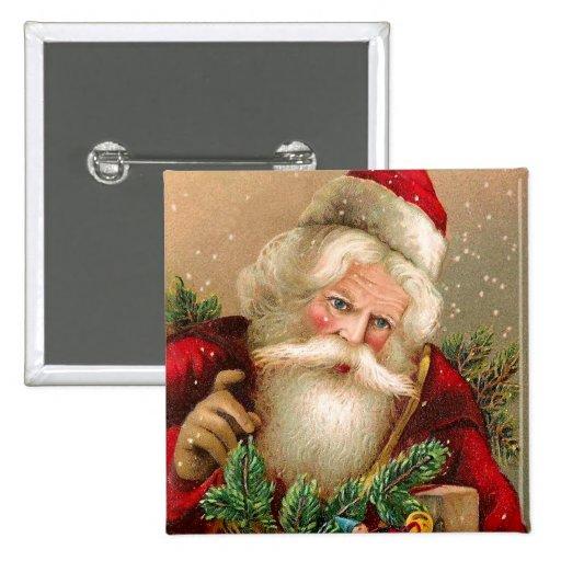 Vintage Santa Claus with Toys Pinback Button