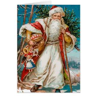 Vintage Santa Claus with toys Card