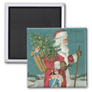 Vintage Santa Claus with toys Christmas magnet