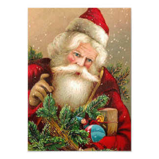 Vintage Santa Claus with Toys 4.5x6.25 Paper Invitation Card