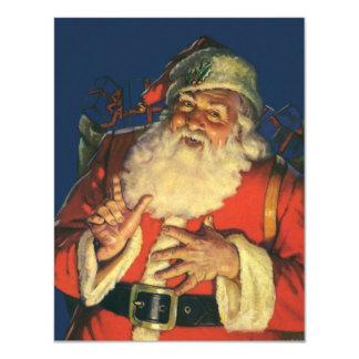 Vintage Santa Claus with Toys on Christmas Eve Custom Invitations