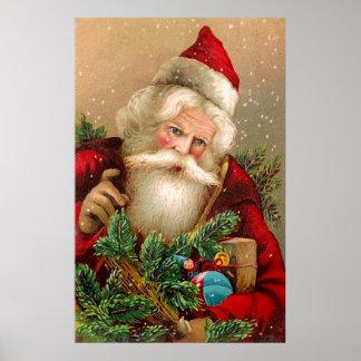 Vintage Santa Claus with Toys Print