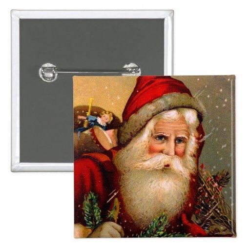 Vintage Santa Claus with Walking Stick Pins