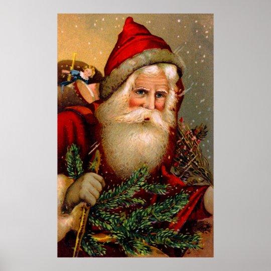 Vintage Santa Claus with Walking Stick Poster