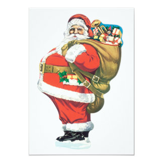 Vintage Santa Clause 13 Cm X 18 Cm Invitation Card