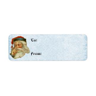 Vintage Santa Clause Present Gift Tag Return Address Label