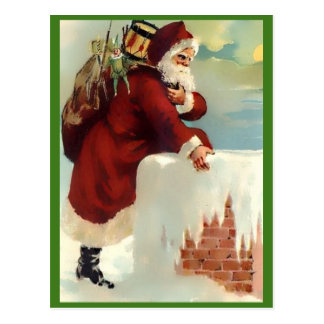 Vintage Santa Coming Down the Chimney (Nice Copy) Postcard