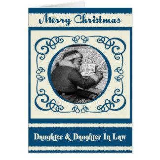 Vintage Santa Daughter & Daughter In Law Christmas Card